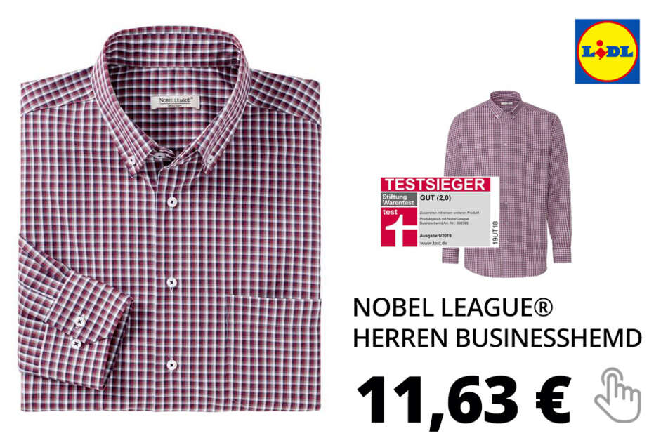 NOBEL LEAGUE® Herren Businesshemd – bordeaux-kariert