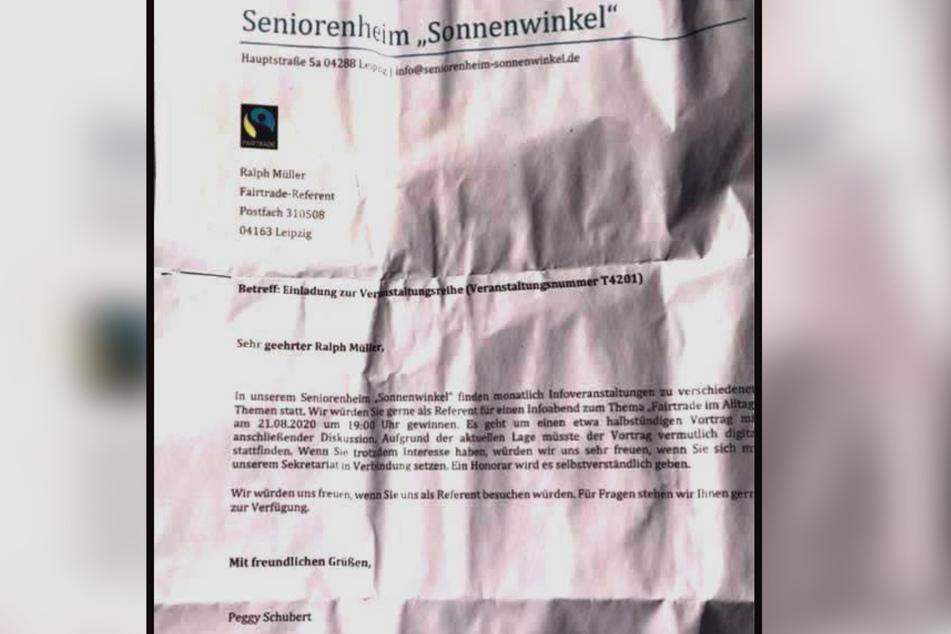 """Die Briefe waren an einen gewissen """"Ralph Müller"""" adressiert."""