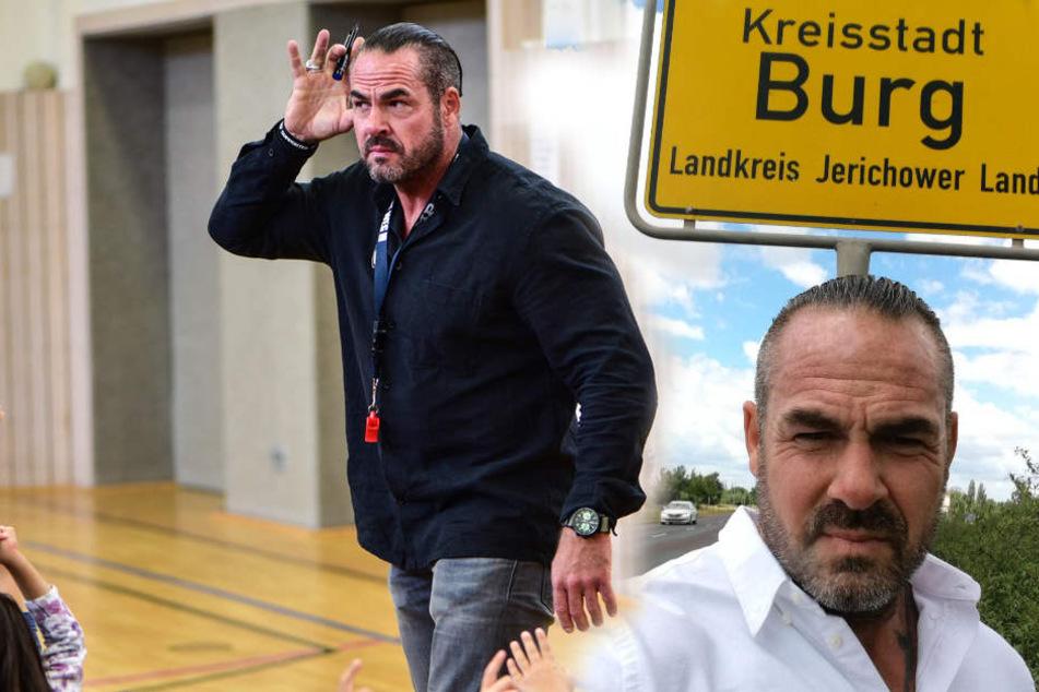 Der Coach besuchte die Stadt Burg nach der Veranstaltung in Schönebeck. Hier war der Jungen ums Leben gekommen.