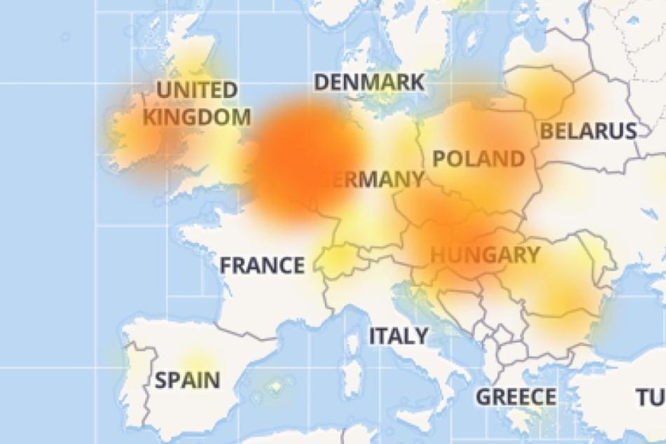 Die Karte von Downdetector.com zeigt in gelb und knallrot in welchen Regionen die Probleme auftreten.