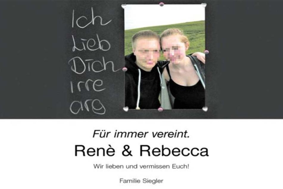 Diese emotionale Traueranzeige veröffentlichten die Eltern des Liebespaares Rebecca und René.