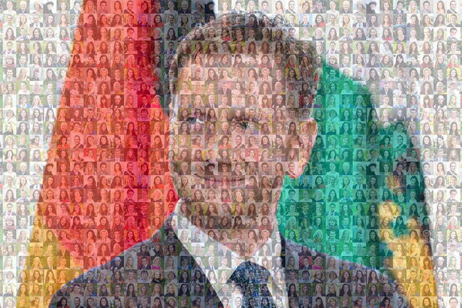 Gesicht zeigen für Kretschmer. Die supergroßen Wahlplakate (Symbolbild) sollen sich aus Hunderten Köpfen zusammensetzen.