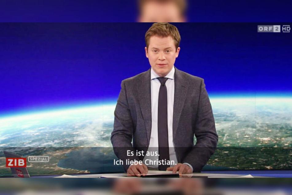 """""""Es ist aus. Ich liebe Christian."""": Ob ORF-Moderator Tobias Pötzelsberger wirklich gerade Schluss macht, ist eher unwahrscheinlich."""
