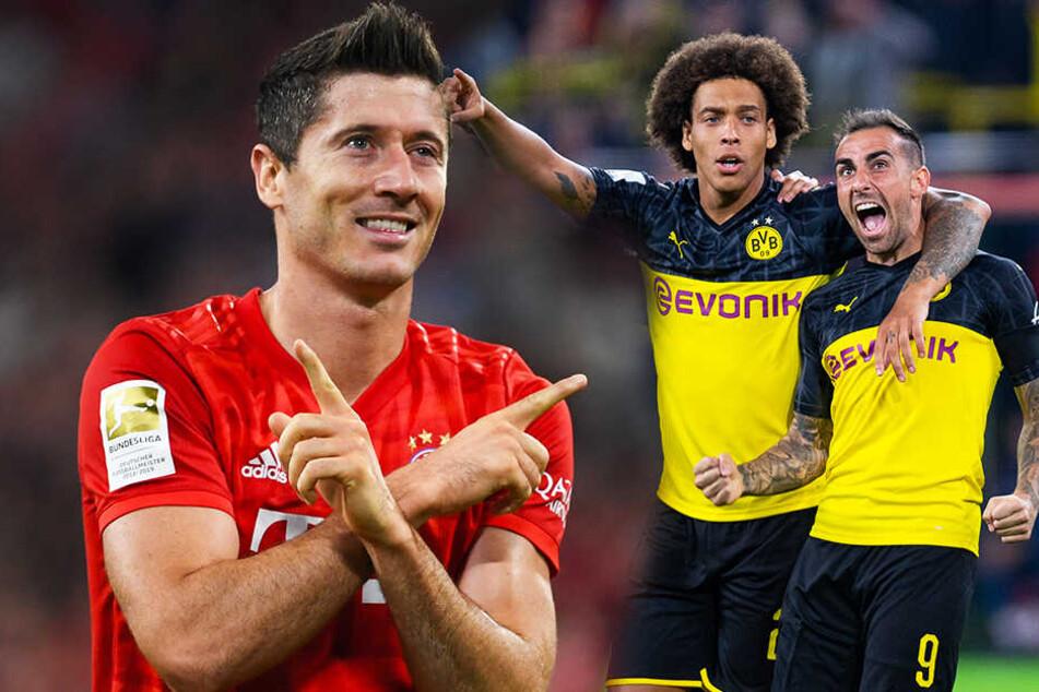 Robert Lewandowski (l.) und der FC Bayern München spielen beim VfL Bochum? Borussia Dortmund um Paco Alcacer (r.) empfängt Borussia Mönchengladbach? (Bildmontage)