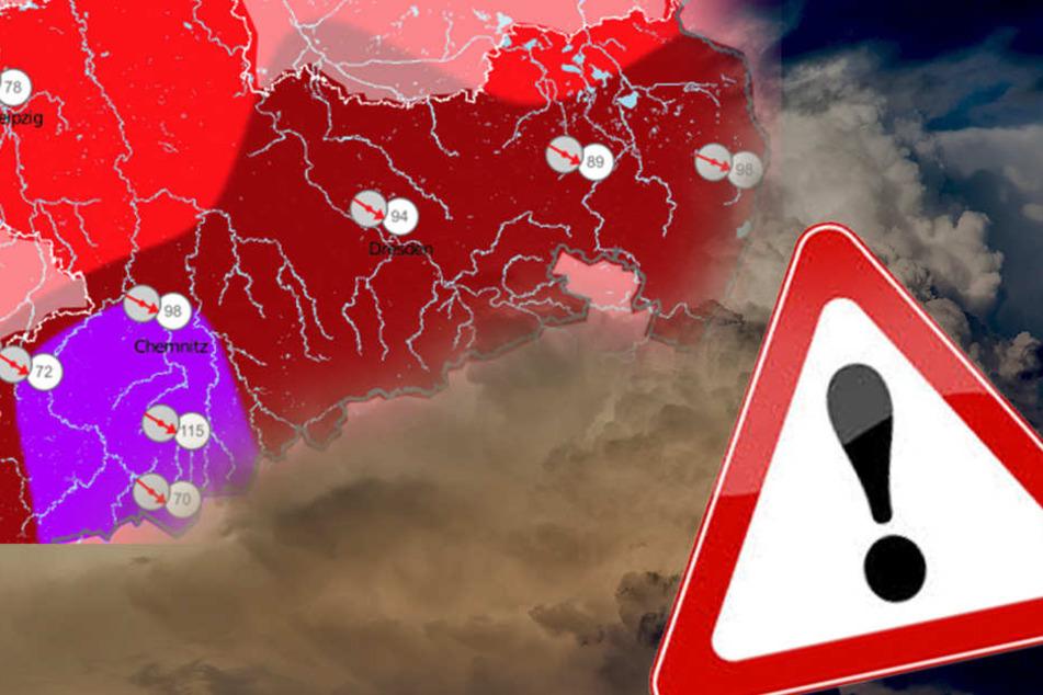 In Sachsen gilt zum Teil die höchste Warnstufe des Wetterdienstes.