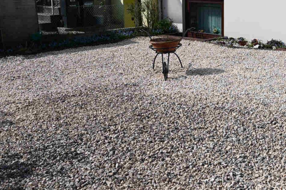 In diesem leblosen Garten gibt es außer viel Schotter nur einen einzelnen Blumentopf in einer Schubkarre.