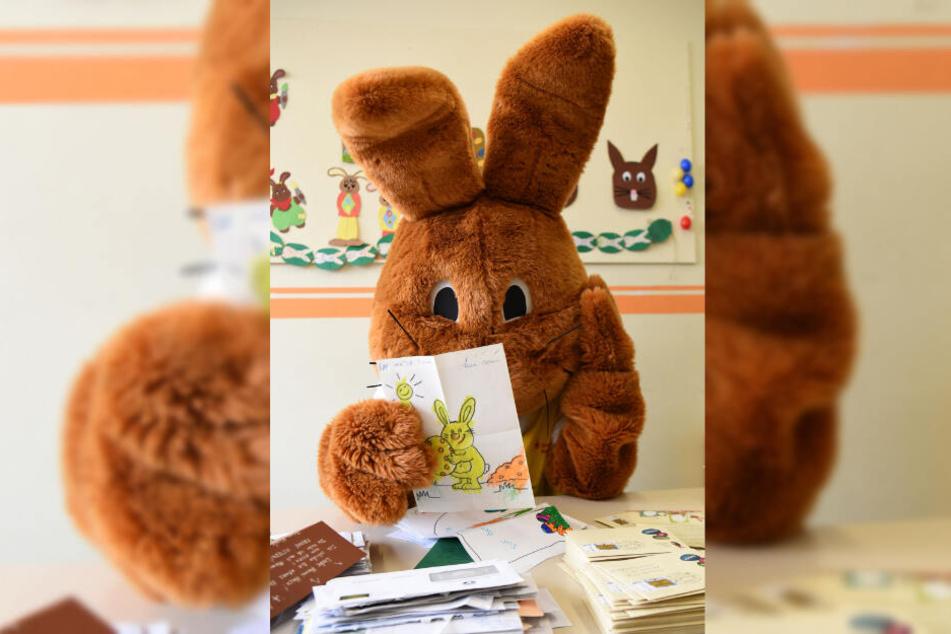 Der Osterhase konnte gar nicht glauben, wieviele Briefe ihm von Kindern aus aller Welt geschickt worden.
