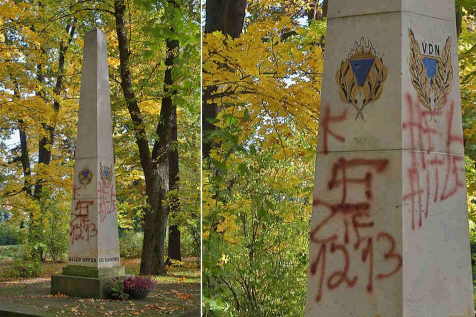 Rechte Parolen wurden auf den Gedenkstein geschmiert. Angeblich hat niemand etwas gesehen.