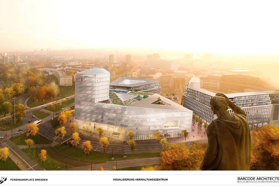 Denkt man an den neuen Ferdinandplatz, hat man diese Visualisierung vor Augen. Dabei wird das neue Verwaltungszentrum ganz anders aussehen.