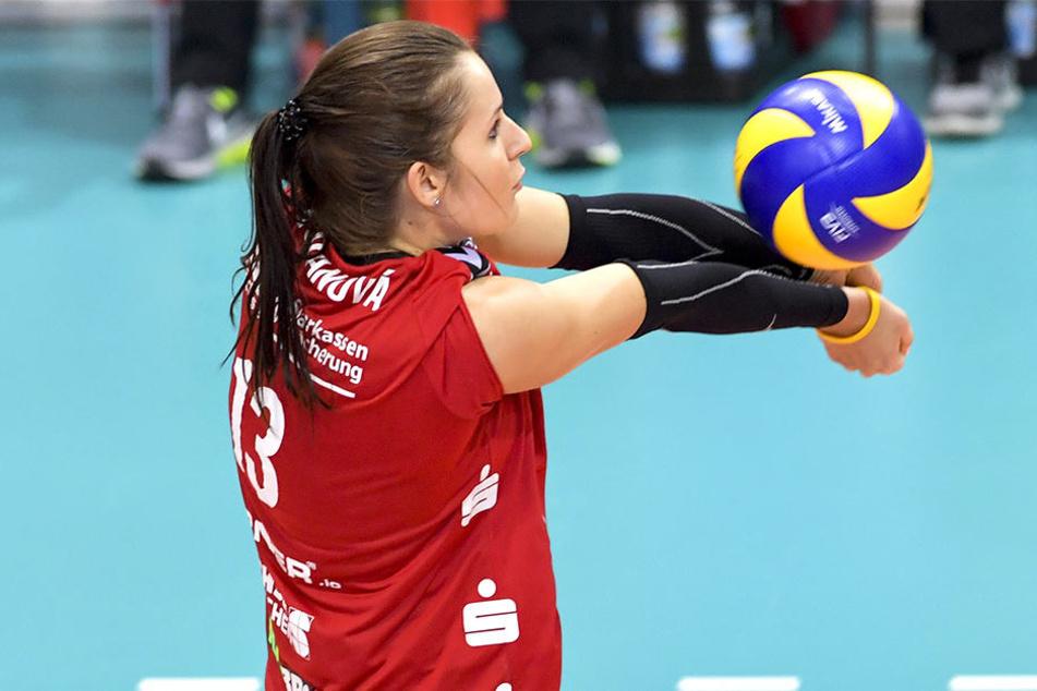 Eva Hodanova bei der Annahme. Ohne Piia Korhonen fehlte dem DSC die Durchschlagskraft.