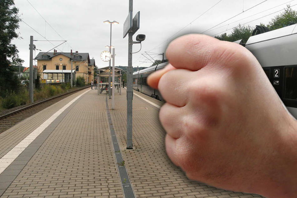 Der Zug musste am Bahnhof Oederan stoppen.