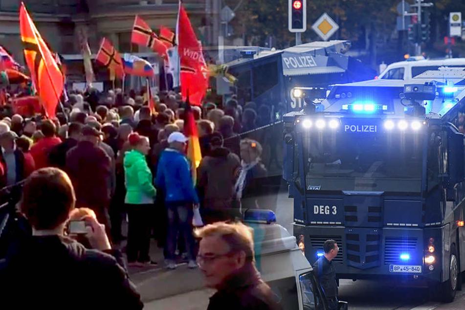 Die Polizei sicherte mehrere Demonstrationen in Chemnitz mit einem Großaufgebot (Bildmontage).