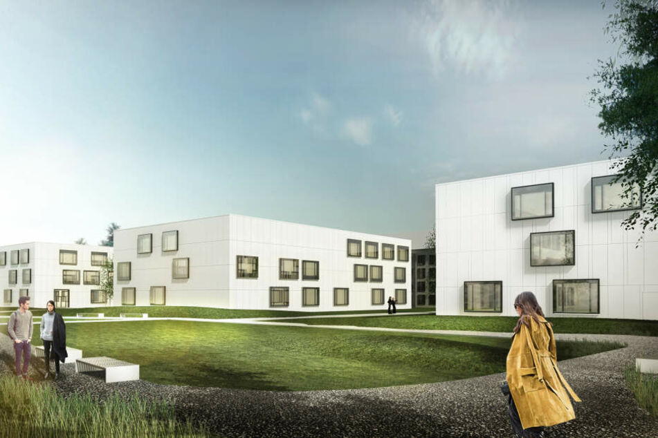Die neuen Laborflügel kommen im futuristischen Quader-Design daher. Bis 2022 soll alles fertig sein.