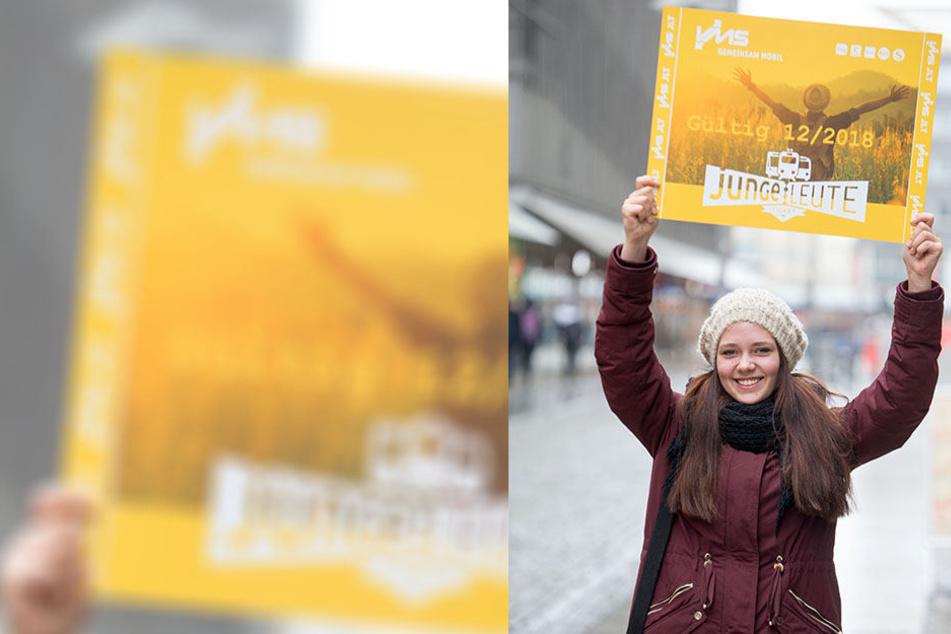 Jasmin Schenke (18) ist erste Besitzerin des neuen Junge-Leute-Tickets des VMS. Sie pendelt als Azubi zur Bankkauffrau täglich von Limbach-Oberfrohna nach Chemnitz und zurück.