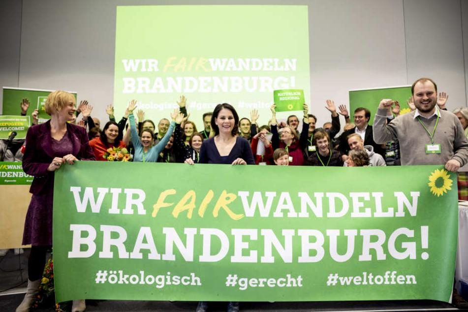 Annalena Baerbock (m.) war beim Grüne-Landesparteitag zu Gast.