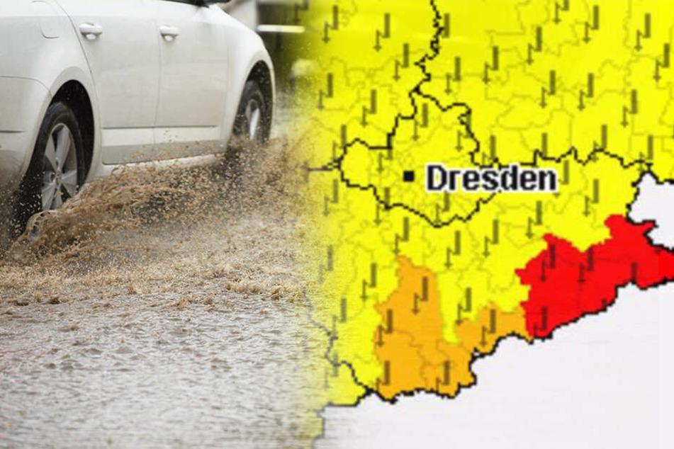Warnstufe Rot: In diesem Teil Sachsens wird jetzt vor starkem Unwetter gewarnt