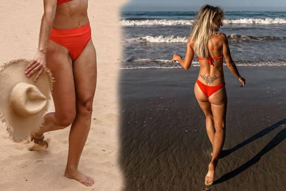 """Hier stellt Adrienne Koleszar (34) ihre """"Makel"""" offen zur Schau."""