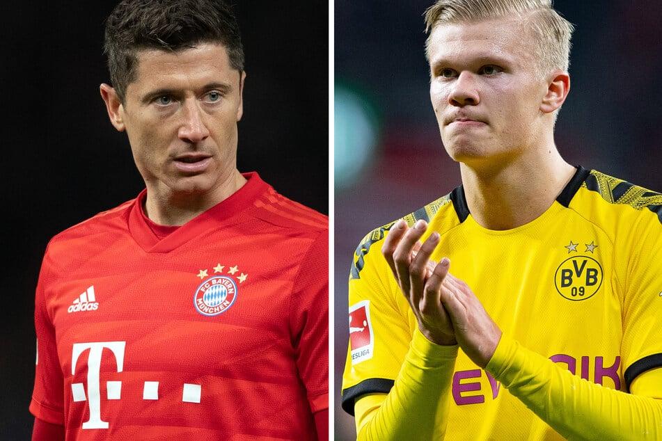 Robert Lewandowski (l.) oder Erling Haaland (r.): Wer hat die Nase beim Bundesliga-Kracher in Dortmund am Ende vorne?