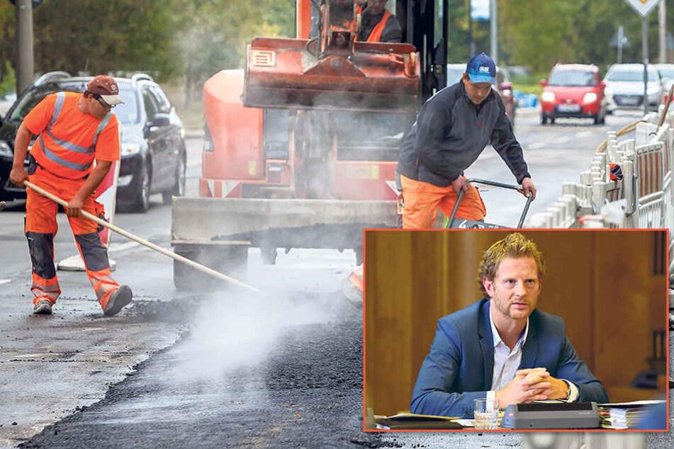 450 Meter der Wolgograder Allee werden saniert. Trotzdem verschlechtert sich der Straßenzustand seit Jahren.Baudezernent Michael Stötzer (44, Grüne, kl.F.).