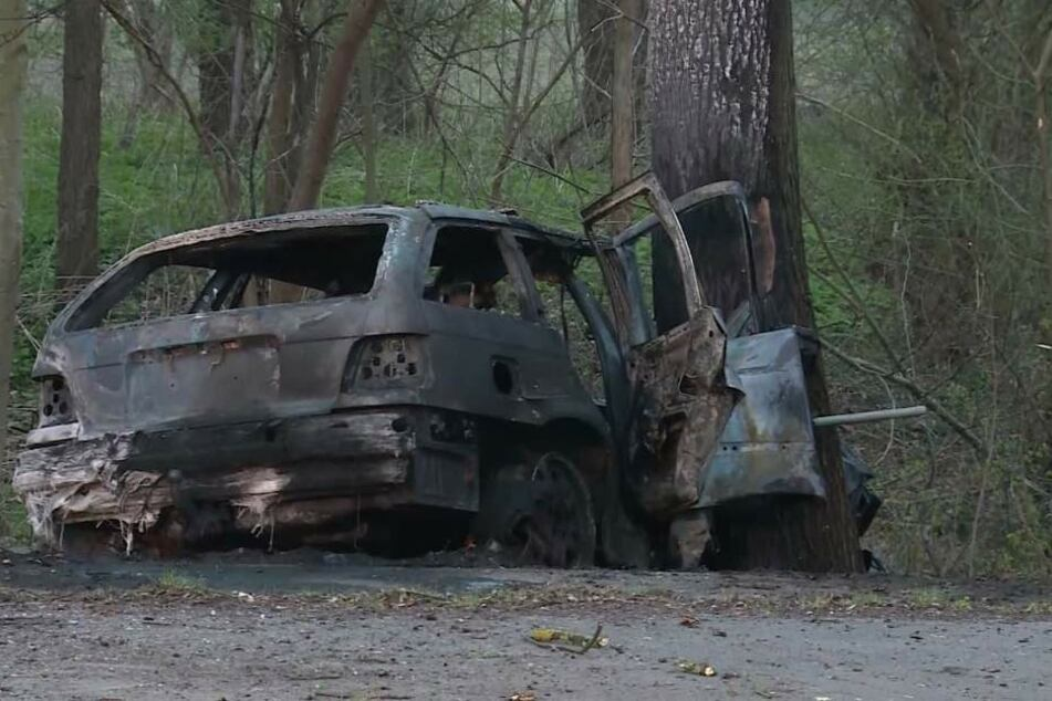 Der Fahrer prallte gegen einen Baum, das Auto brannte aus. (Symbolfoto)