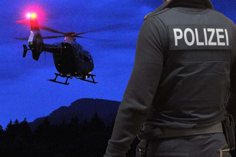 Die Polizei war mit zahlreichen Einsatzkräften und einem Hubschrauber vor Ort (Symbolbild).