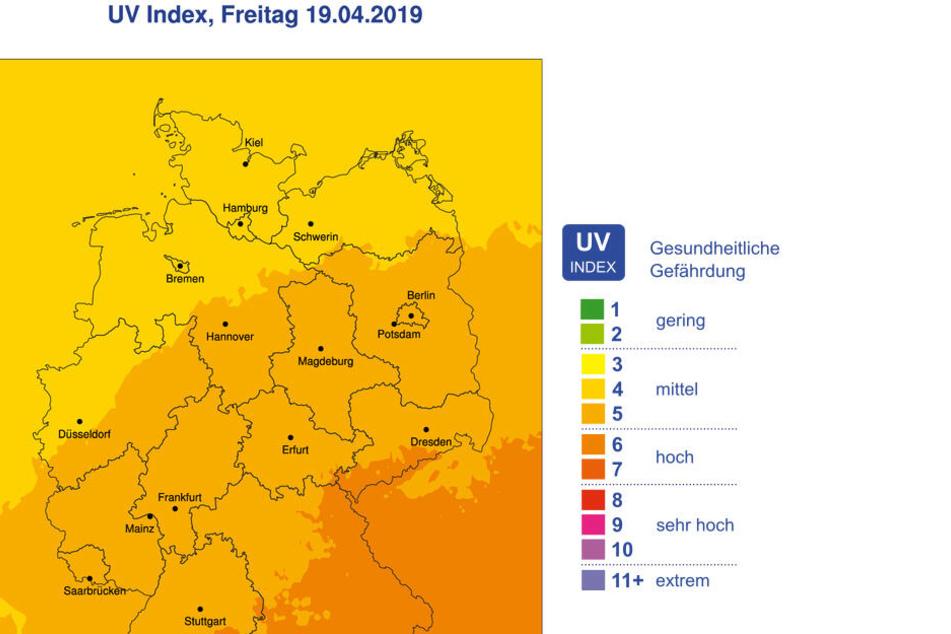 Laut Deutschem Wetterdienst liegen Karfreitag die höchsten UV-Werte in Sachsen und Bayern bei 6 bis 7. Das bedeutet: Ihr müsst Euch schützen!