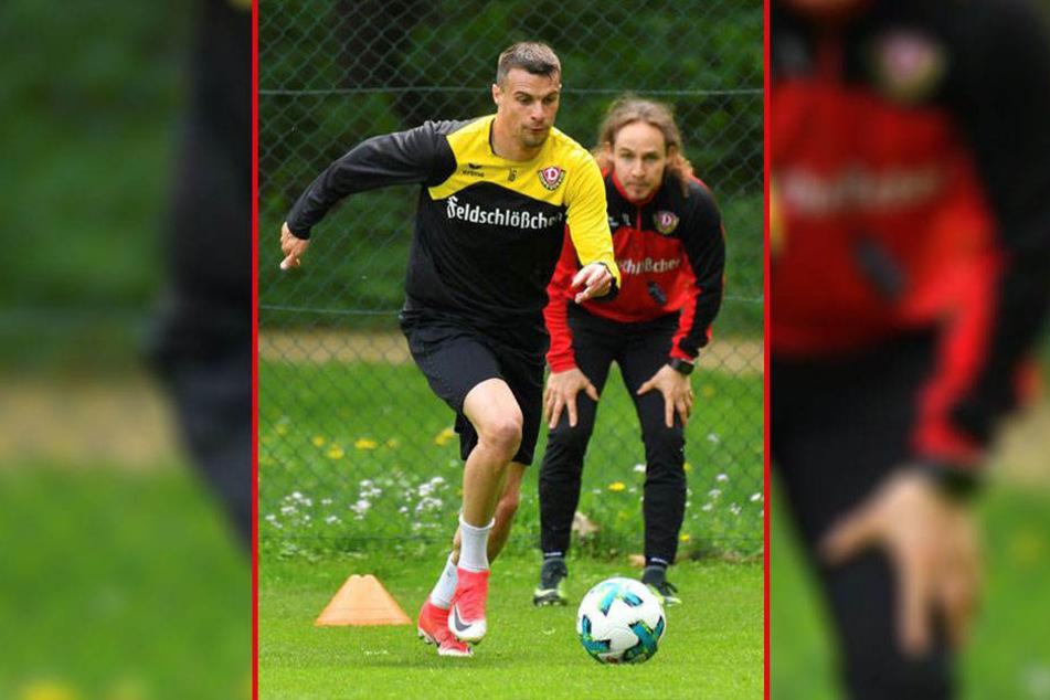 Philip Heise (l.) im Reha-Training nach seiner Knie-OP mit Physio-Trainer Tobias Lange.