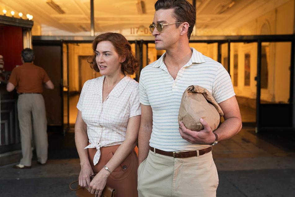 """Die hysterische Filmfigur von Kate Winslet (l.) in """"Wonder Wheel"""" von Woody Allen war der nervigste Kinocharakter des gesamten Jahres 2018! Wie Justin Timberlake (r.) diesen Dreh ohne psychischen Schaden überstanden hat, bleibt ein Rätsel."""
