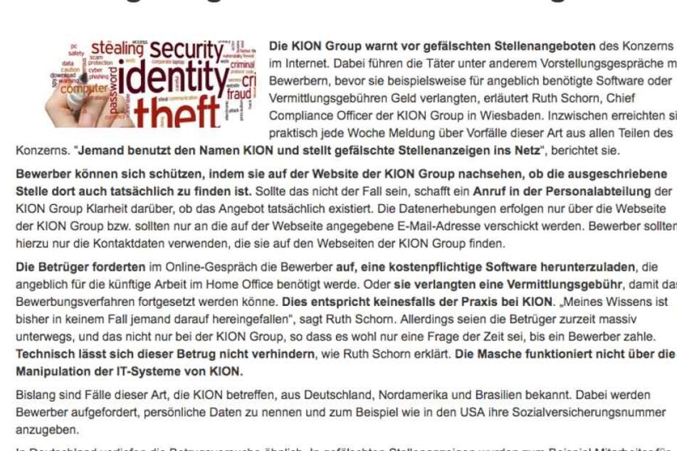 So warnt die Kion-Group vor gefälschten Stellenanzeigen.