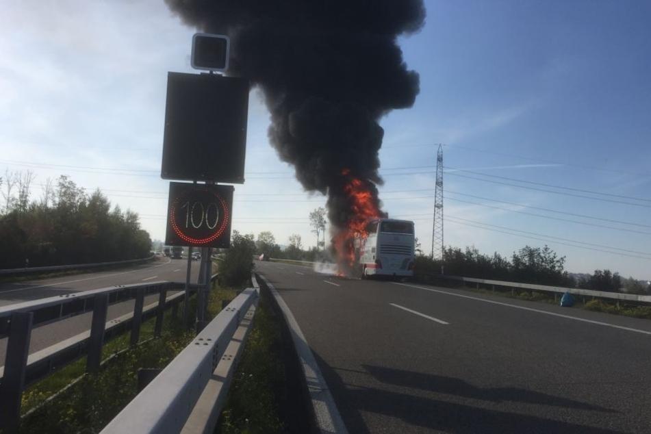 Der Reisebus brannte auf der A1 in der Schweiz vollständig aus.