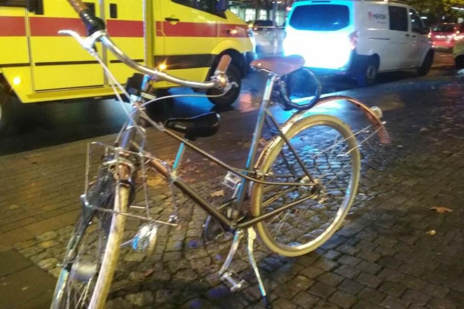 Das Rad wurde durch den Unfall verbogen.