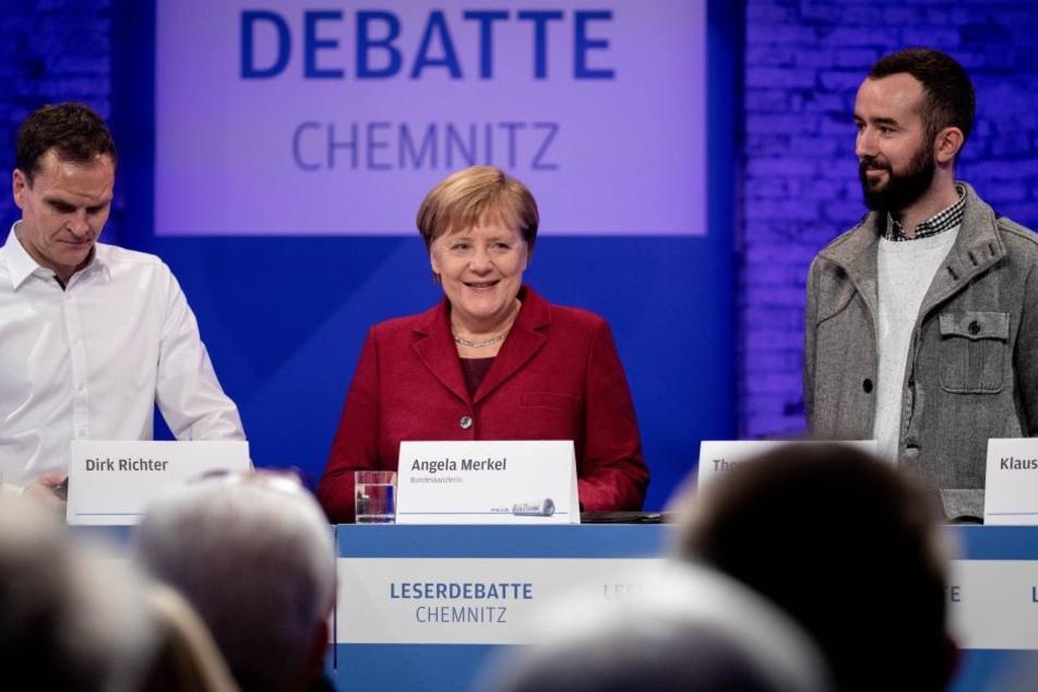 Angela Merkel am Freitag bei ihrem Besuch in Chemnitz.