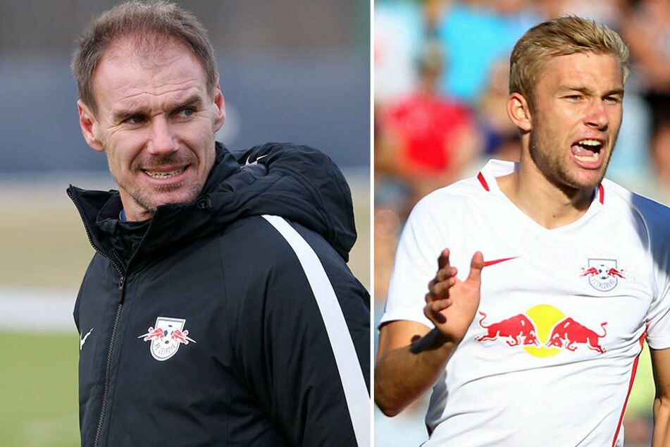Alexander Zickler (l.) plauderte in einem Interview den fixen Wechsel von Konrad Laimer (r.) nach Leipzig aus.