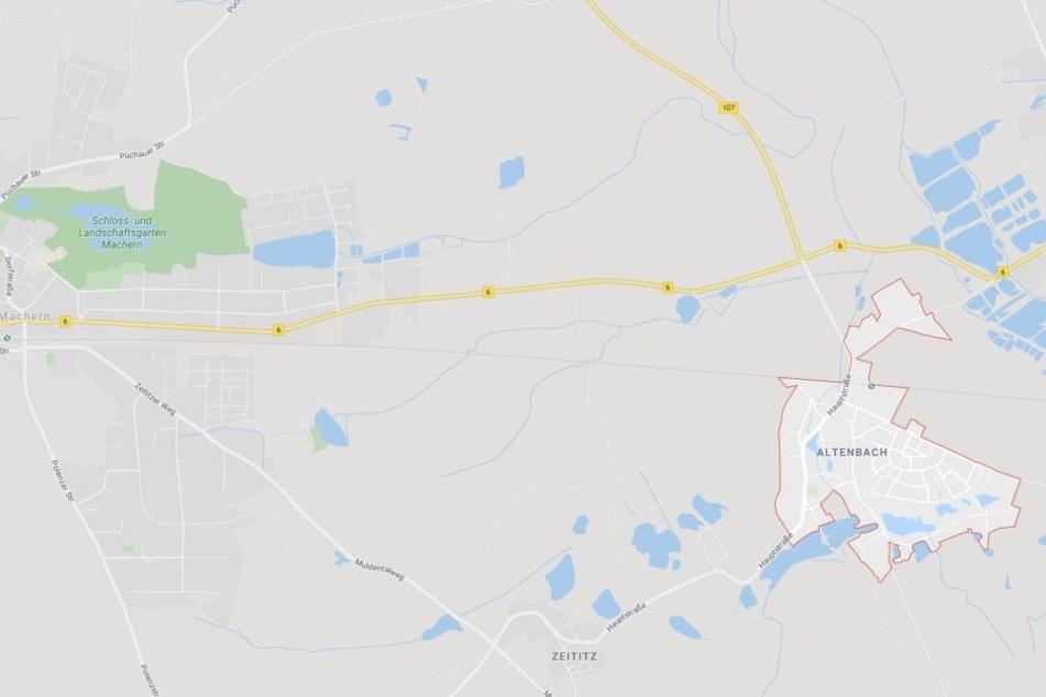 Der Unfallort befindet sich auf der B6, rund 500 Meter vor dem Ortseingang Machern.