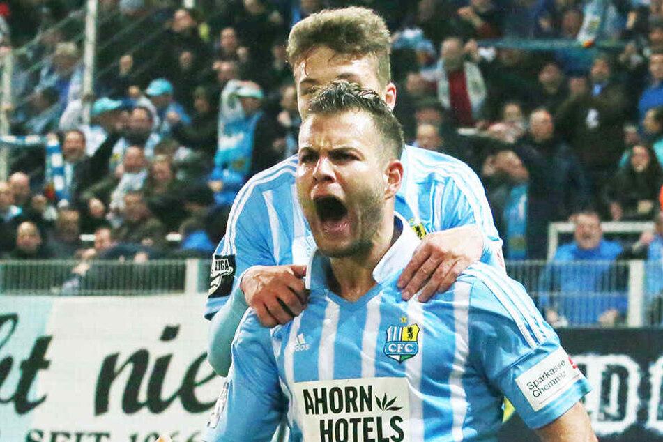 So freute sich Berkay Dabanli über sein erstes Tor für den CFC, das den Himmelblauen gegen den 1. FC Magdeburg zumindest einen Punkt bescherte.