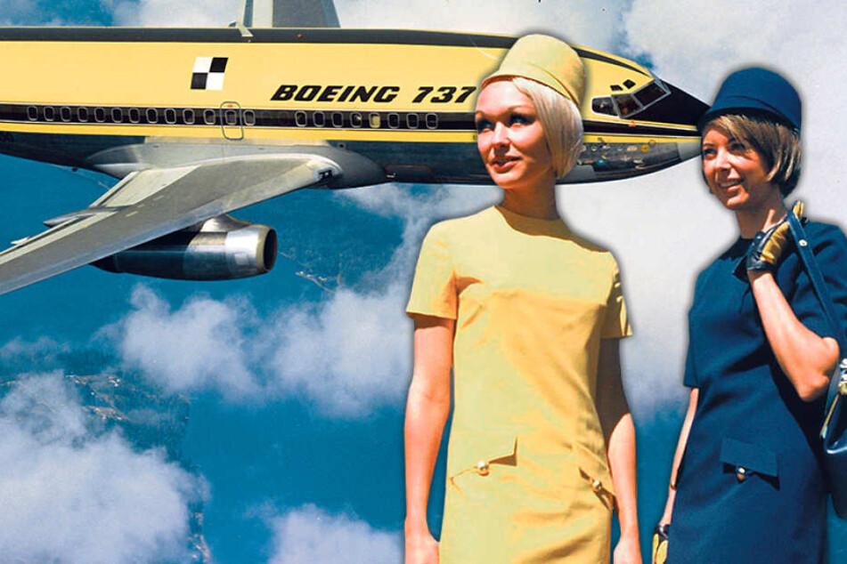 Mit dem Flieger begann auch eine neue Ära für die Lufthansa-Stewardessen, die  ab 1970 diese blauen und gelben Kostüme erhielten.