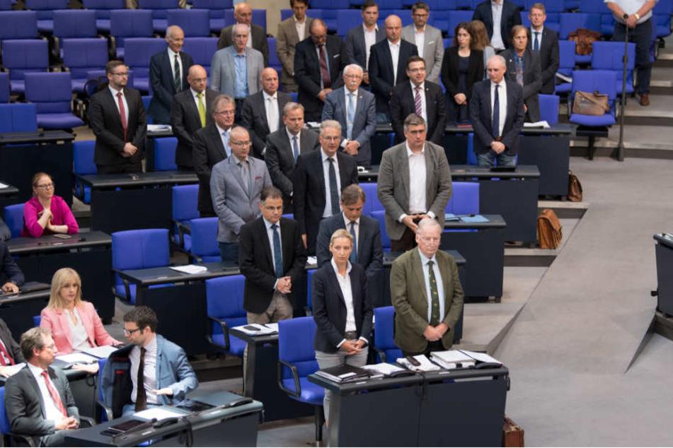 Mitglieder der AfD-Fraktion gedenken während der 37. Sitzung des Bundestages stehend der ermordeten Susanna F..