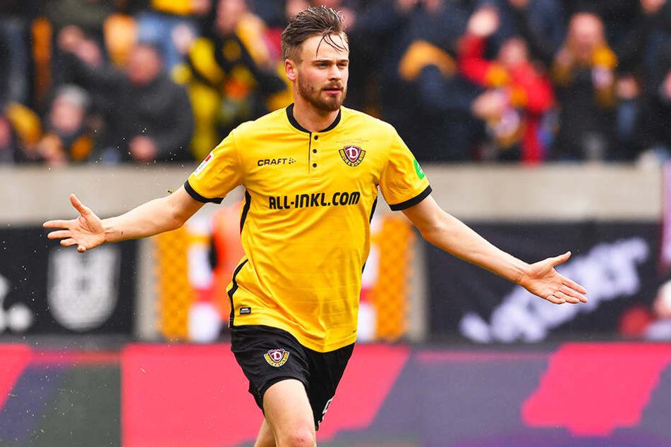 Pure Erleichterung nach harten Wochen: Dynamo-Stürmer Lucas Röser freut sich über seinen 1:1-Ausgleichstreffer gegen den 1. FC Magdeburg.