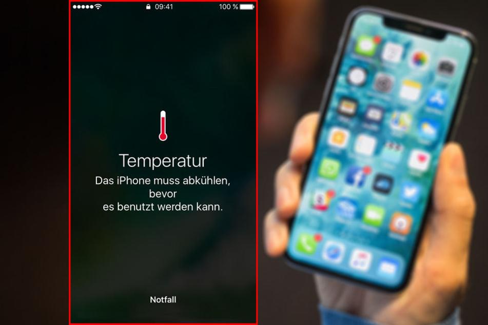 Wenn diese Temperatur-Warnung auf dem iPhone-Display erscheint, sollte man schnell handeln.