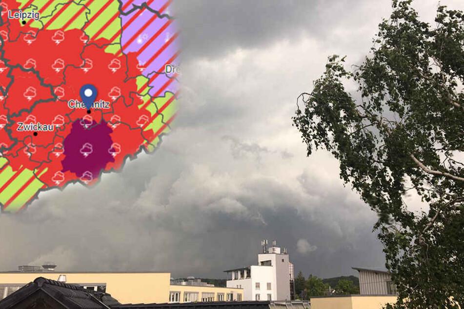 Da bahnt sich schon etwas an. In Chemnitz könnte es Mittwochnachmittag noch mal heftig krachen.