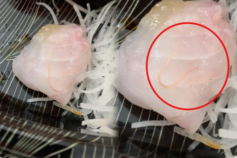 Mann will sein teures Sushi essen: Als er genauer hinsieht, wird ihm kotzübel