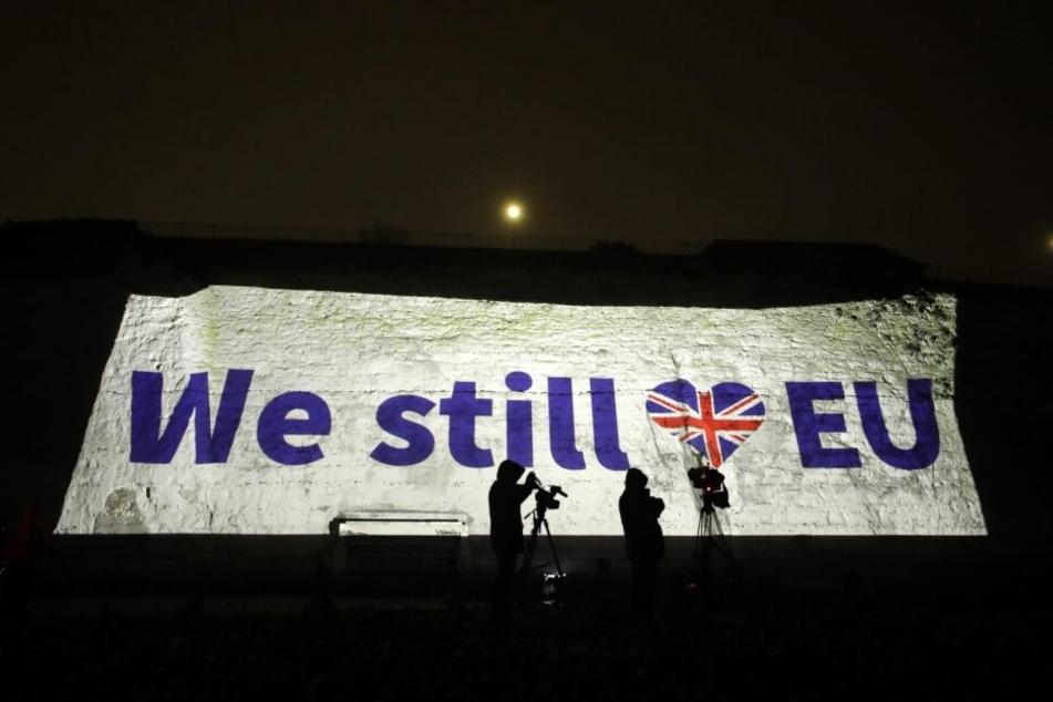 """""""We Still Love EU"""" ist an eine Wand projiziert. Mehr als dreieinhalb Jahre nach dem Brexit-Referendum ist Großbritannien ab dem 31.01.2020 (24 Uhr MEZ) kein Mitglied der Europäischen Union mehr."""