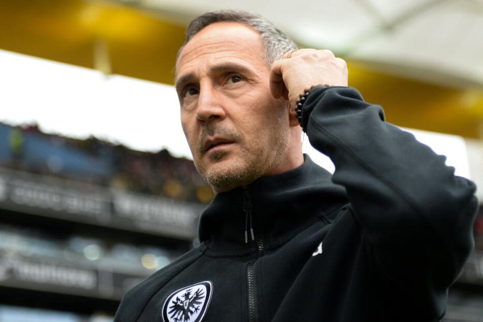 Adi Hütter durfte seine Eintracht nach der Sperre in der Europa League wieder von der Seitenlinie aus coachen.