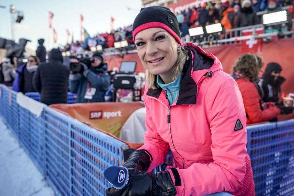 Maria Höfl-Riesch, ehemalige Ski-Olympiasiegerin und derzeit TV-Expertin für die ARD.