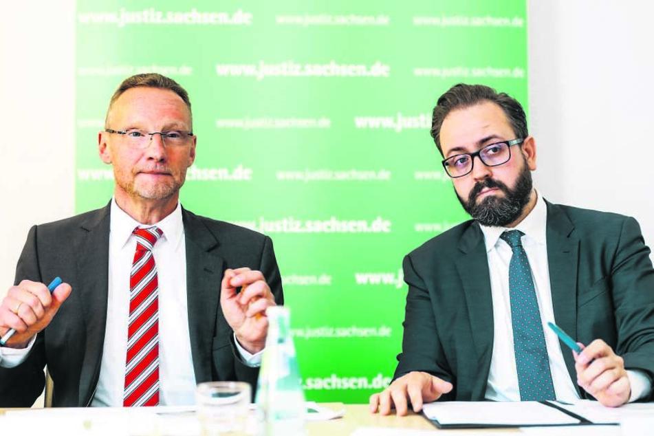 Der leitende Oberstaatsanwalt Klaus Rövekamp (58, l.) und Justizminister Sebastian Gemkow (40) stellten gestern die neuen Strukturen der Staatsanwaltschaft Dresden vor.