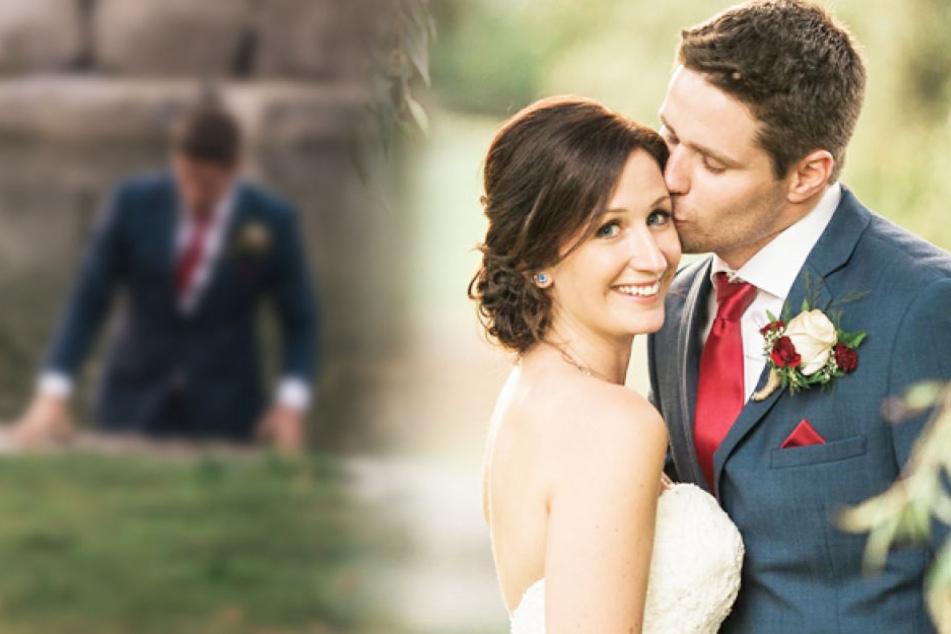 Bei Hochzeits-Shooting: Bräutigam stürzt sich in Fluss!