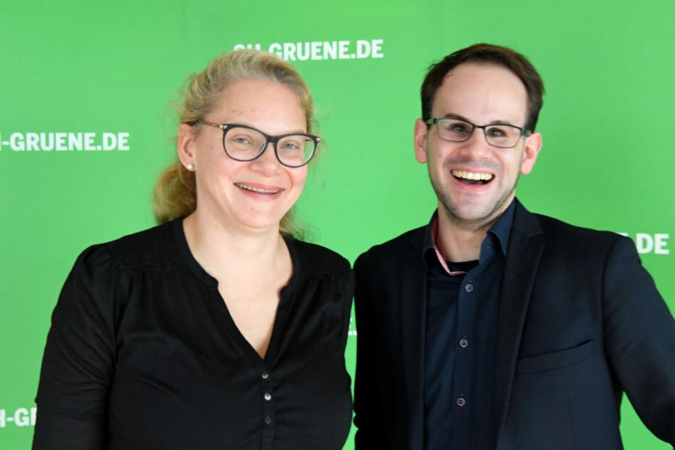 Ann-Kathrin Tranziska und Steffen Regis sind die amtierenden Landesvorsitzenden der Grünen in Schleswig-Holstein.