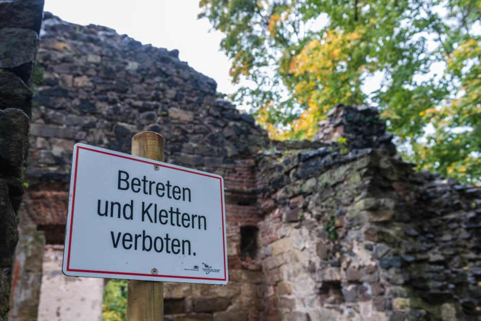 Die Gotische Ruine von Pillnitz ist jetzt eine Gefahr für Wanderer.