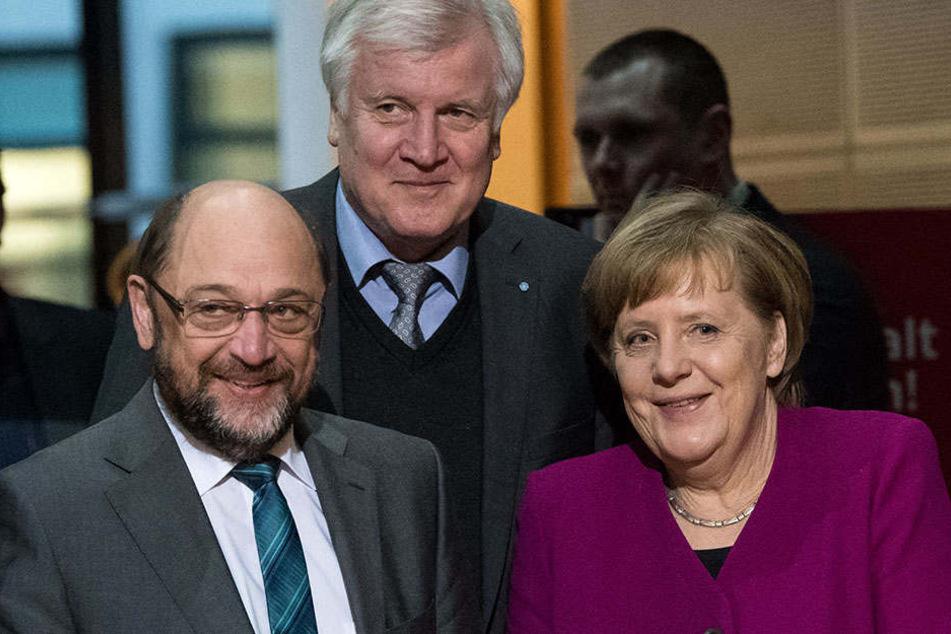 Können sich die Parteispitzen um Martin Schulz, Horst Seehofer und Angela Merkel am Sonntag einigen?