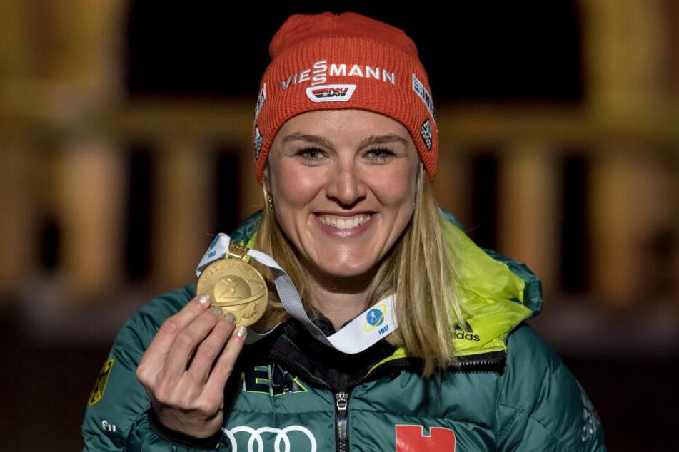Denise Herrmann hatte sich bei der WM 2019 in Östersund den Traum vom Titel im Verfolger erfüllt. Wofür reicht es diesmal?